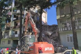 Section of residential building demolishes in Batumi